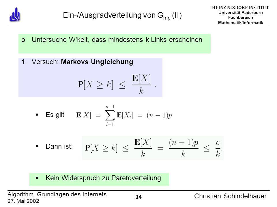 HEINZ NIXDORF INSTITUT Universität Paderborn Fachbereich Mathematik/Informatik 24 Algorithm. Grundlagen des Internets 27. Mai 2002 Christian Schindelh