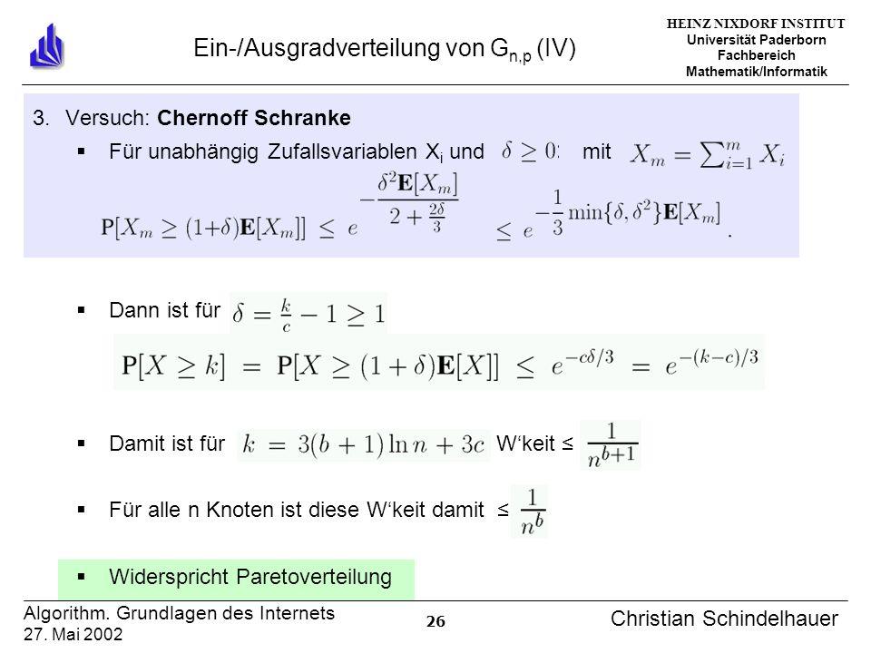 HEINZ NIXDORF INSTITUT Universität Paderborn Fachbereich Mathematik/Informatik 26 Algorithm. Grundlagen des Internets 27. Mai 2002 Christian Schindelh