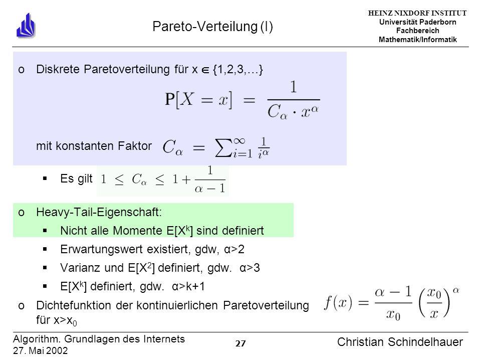 HEINZ NIXDORF INSTITUT Universität Paderborn Fachbereich Mathematik/Informatik 27 Algorithm. Grundlagen des Internets 27. Mai 2002 Christian Schindelh