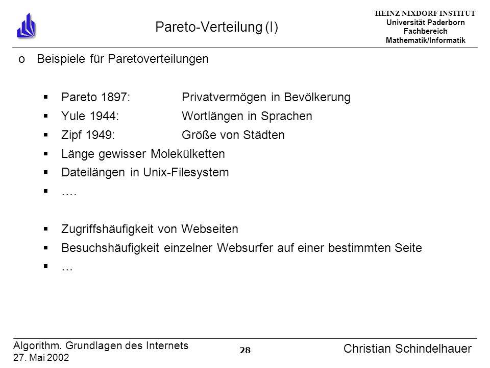 HEINZ NIXDORF INSTITUT Universität Paderborn Fachbereich Mathematik/Informatik 28 Algorithm. Grundlagen des Internets 27. Mai 2002 Christian Schindelh