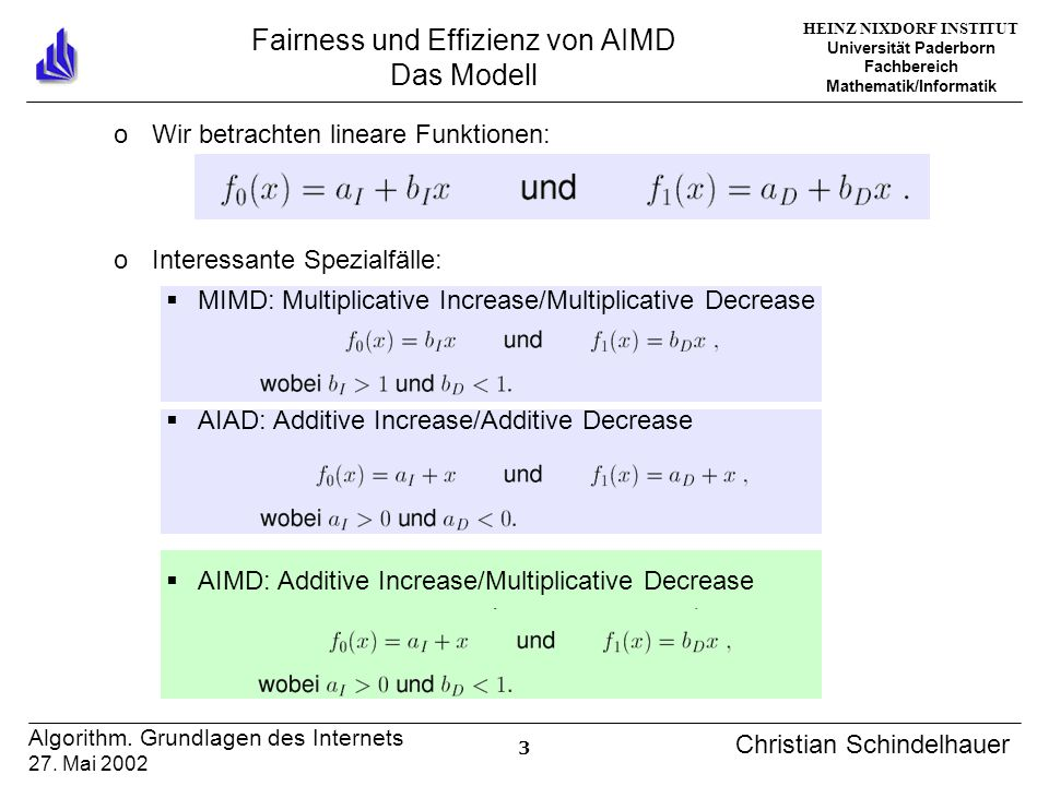 HEINZ NIXDORF INSTITUT Universität Paderborn Fachbereich Mathematik/Informatik 3 Algorithm. Grundlagen des Internets 27. Mai 2002 Christian Schindelha