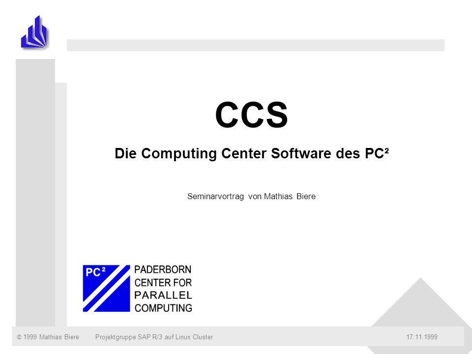 © 1999 Mathias Biere17.11.99Projektgruppe SAP R/3 auf Linux ClusterSeite: 2 Inhalt n Einleitung n Architektur n Eine Insel .