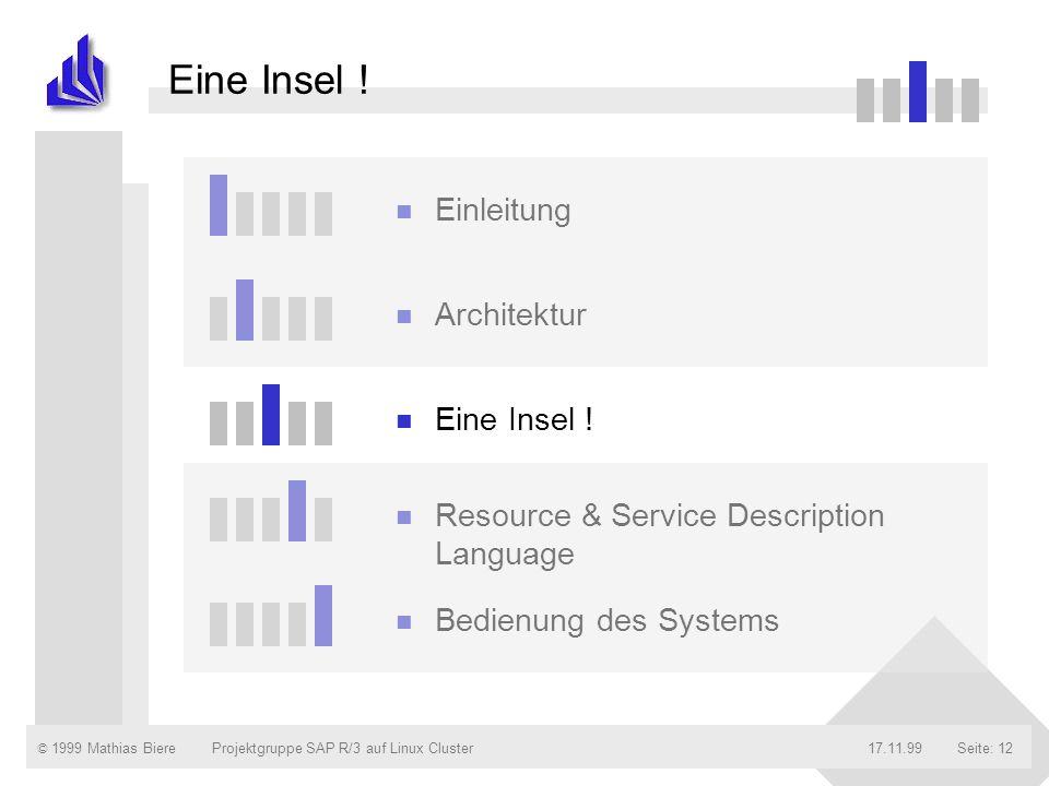 © 1999 Mathias Biere17.11.99Projektgruppe SAP R/3 auf Linux ClusterSeite: 12 n Einleitung n Architektur n Eine Insel ! n Resource & Service Descriptio