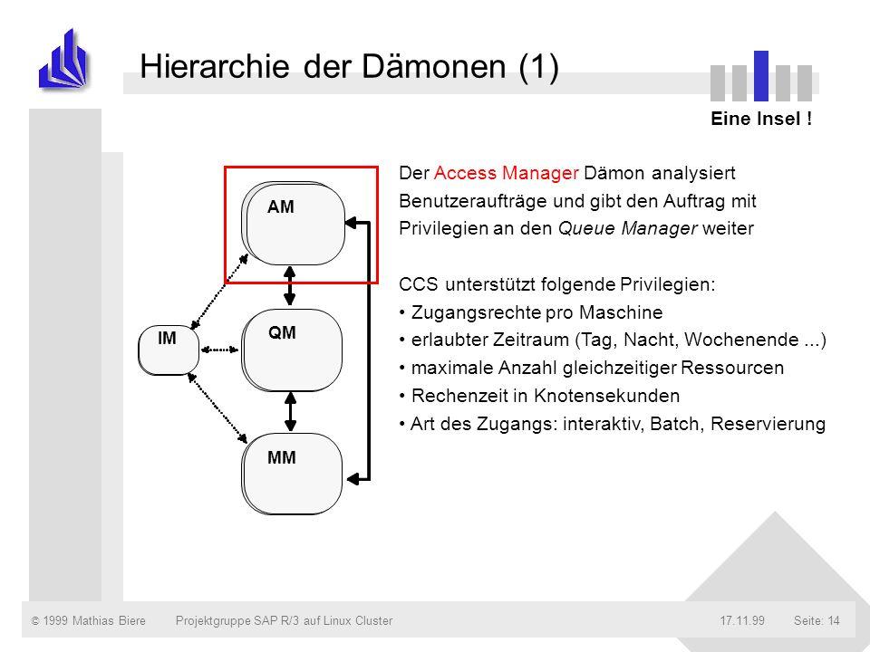 © 1999 Mathias Biere17.11.99Projektgruppe SAP R/3 auf Linux ClusterSeite: 14 Hierarchie der Dämonen (1) Eine Insel ! Der Access Manager Dämon analysie