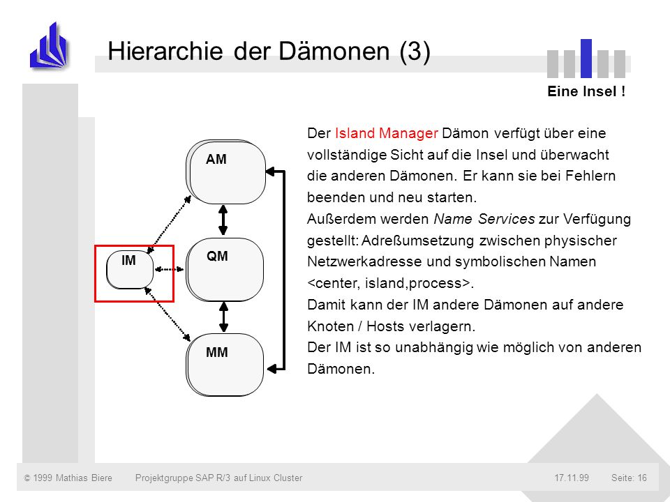 © 1999 Mathias Biere17.11.99Projektgruppe SAP R/3 auf Linux ClusterSeite: 16 Hierarchie der Dämonen (3) Eine Insel ! Der Island Manager Dämon verfügt