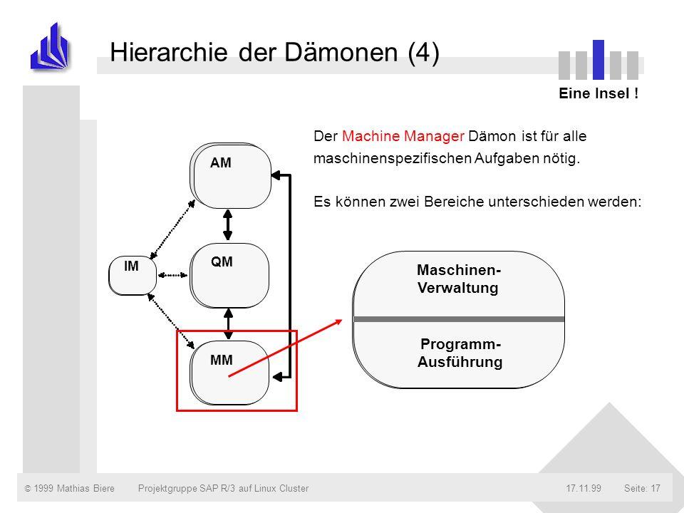 © 1999 Mathias Biere17.11.99Projektgruppe SAP R/3 auf Linux ClusterSeite: 17 Hierarchie der Dämonen (4) Eine Insel ! Der Machine Manager Dämon ist für