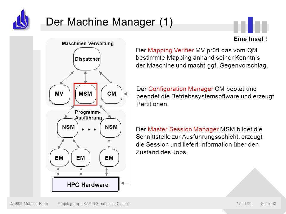 © 1999 Mathias Biere17.11.99Projektgruppe SAP R/3 auf Linux ClusterSeite: 18 Der Machine Manager (1) Eine Insel ! NSM MSMCM... NSM EM Dispatcher MV Ma