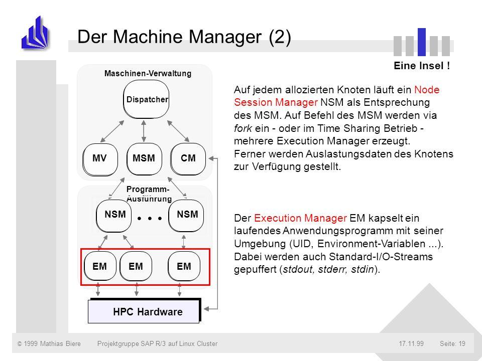 © 1999 Mathias Biere17.11.99Projektgruppe SAP R/3 auf Linux ClusterSeite: 19 Der Machine Manager (2) Eine Insel ! NSM MSMCM... NSM EM Dispatcher MV Ma