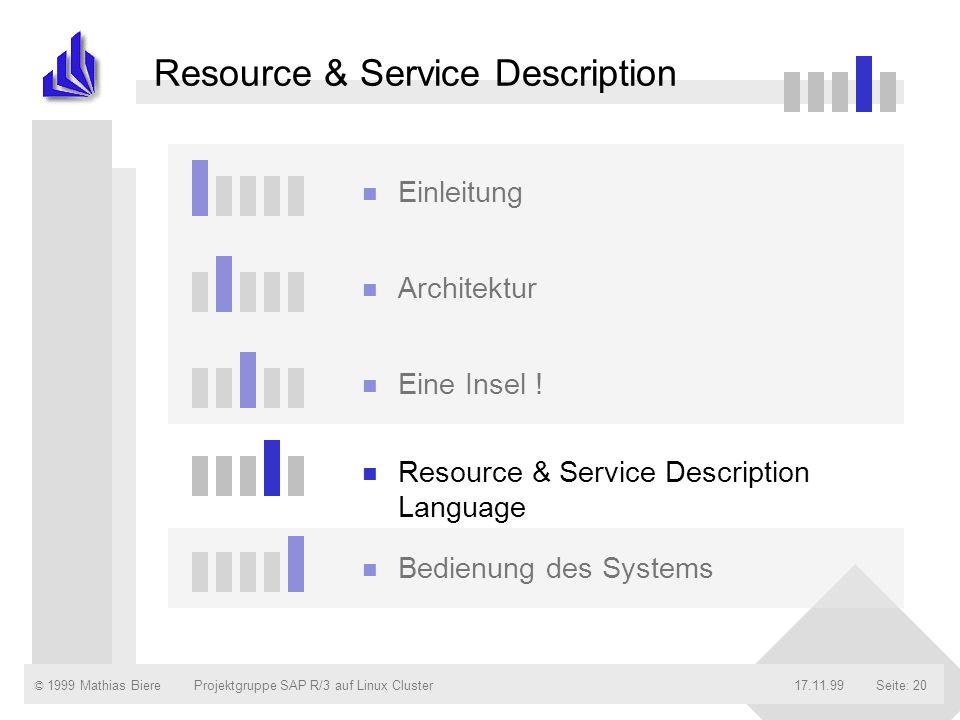 © 1999 Mathias Biere17.11.99Projektgruppe SAP R/3 auf Linux ClusterSeite: 20 Resource & Service Description n Einleitung n Architektur n Eine Insel !