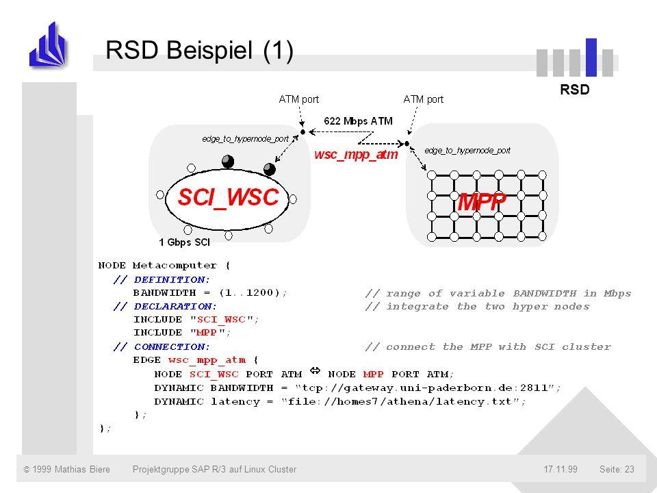 © 1999 Mathias Biere17.11.99Projektgruppe SAP R/3 auf Linux ClusterSeite: 23 RSD Beispiel (1) RSD