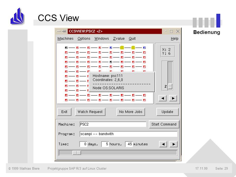 © 1999 Mathias Biere17.11.99Projektgruppe SAP R/3 auf Linux ClusterSeite: 29 CCS View Bedienung