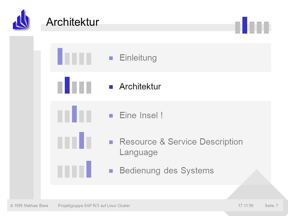 © 1999 Mathias Biere17.11.99Projektgruppe SAP R/3 auf Linux ClusterSeite: 7 Architektur n Einleitung n Architektur n Eine Insel ! n Resource & Service