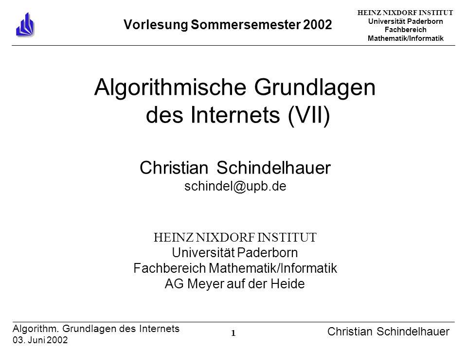 HEINZ NIXDORF INSTITUT Universität Paderborn Fachbereich Mathematik/Informatik 1 Algorithm. Grundlagen des Internets 03. Juni 2002 Christian Schindelh