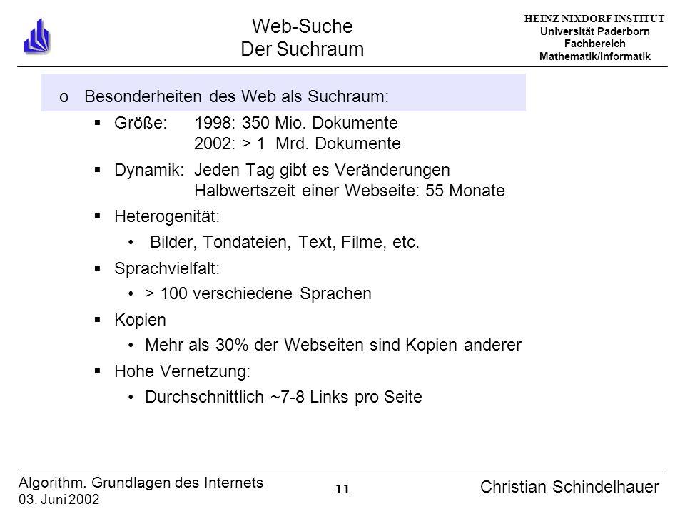 HEINZ NIXDORF INSTITUT Universität Paderborn Fachbereich Mathematik/Informatik 11 Algorithm. Grundlagen des Internets 03. Juni 2002 Christian Schindel