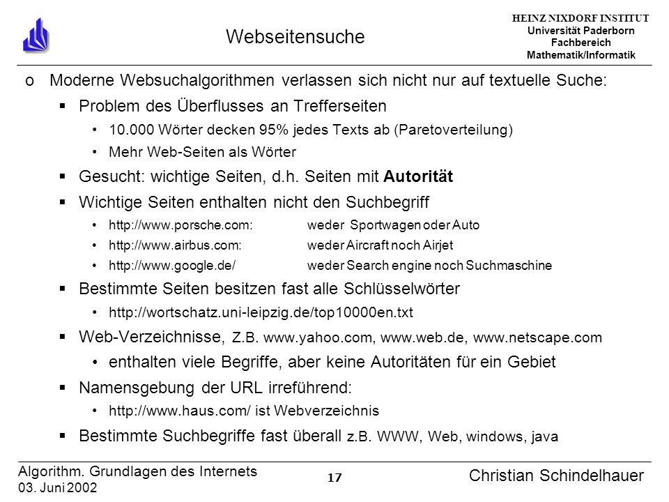 HEINZ NIXDORF INSTITUT Universität Paderborn Fachbereich Mathematik/Informatik 17 Algorithm. Grundlagen des Internets 03. Juni 2002 Christian Schindel