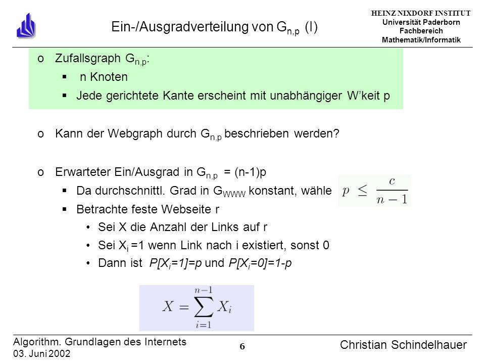 HEINZ NIXDORF INSTITUT Universität Paderborn Fachbereich Mathematik/Informatik 6 Algorithm. Grundlagen des Internets 03. Juni 2002 Christian Schindelh