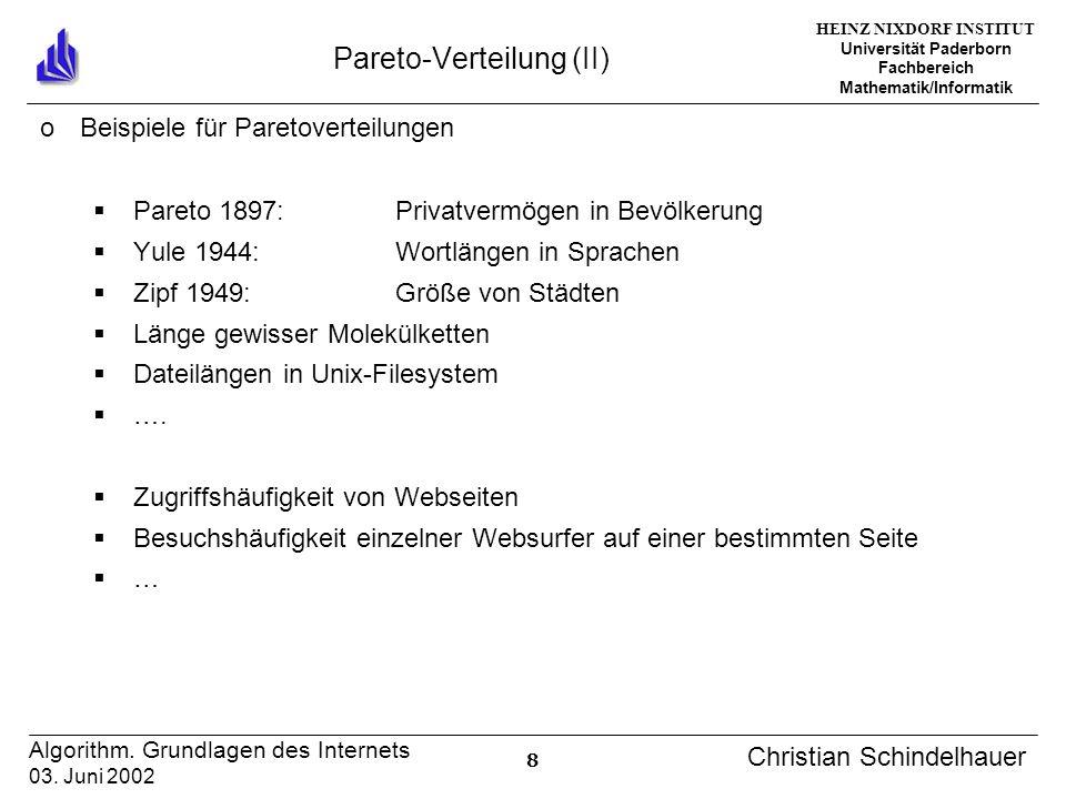 HEINZ NIXDORF INSTITUT Universität Paderborn Fachbereich Mathematik/Informatik 8 Algorithm. Grundlagen des Internets 03. Juni 2002 Christian Schindelh
