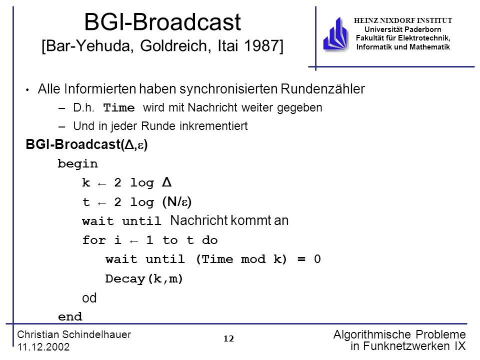12 Christian Schindelhauer 11.12.2002 HEINZ NIXDORF INSTITUT Universität Paderborn Fakultät für Elektrotechnik, Informatik und Mathematik Algorithmisc