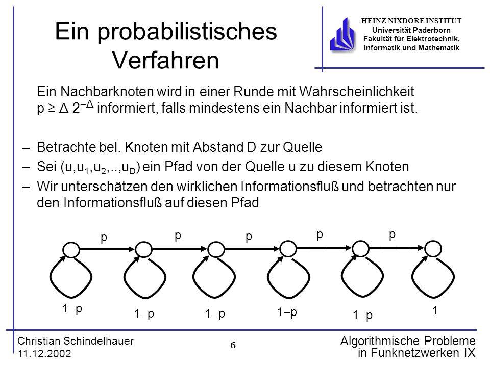 6 Christian Schindelhauer 11.12.2002 HEINZ NIXDORF INSTITUT Universität Paderborn Fakultät für Elektrotechnik, Informatik und Mathematik Algorithmisch