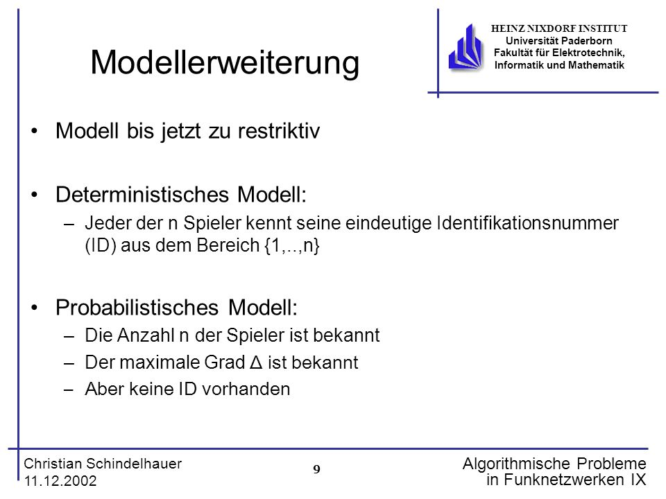 9 Christian Schindelhauer 11.12.2002 HEINZ NIXDORF INSTITUT Universität Paderborn Fakultät für Elektrotechnik, Informatik und Mathematik Algorithmisch