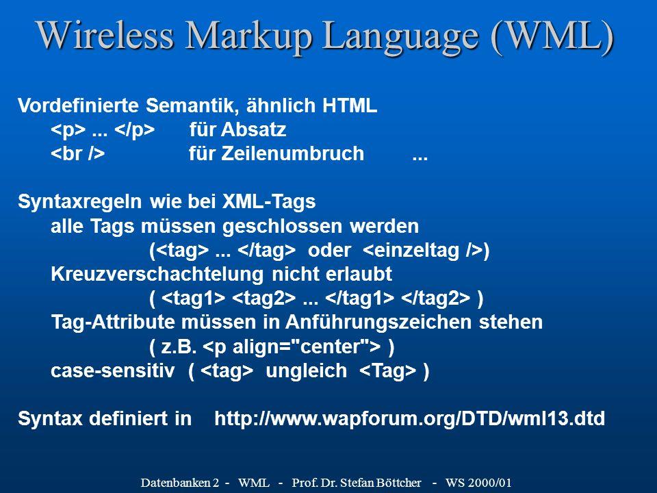 Datenbanken 2 - WML - Prof. Dr.