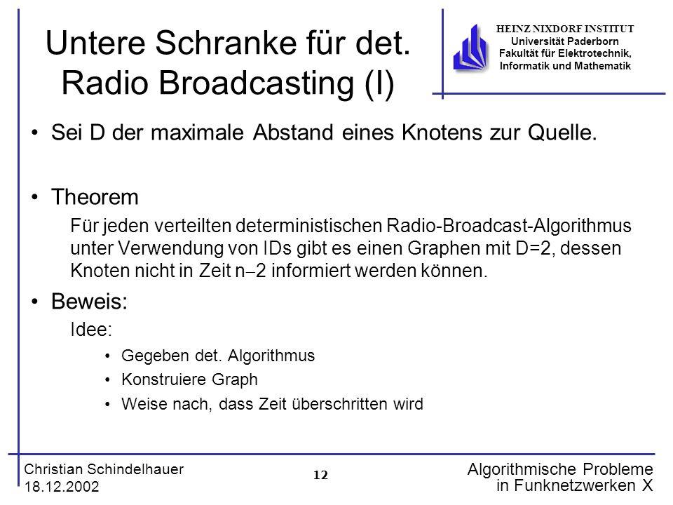 12 Christian Schindelhauer 18.12.2002 HEINZ NIXDORF INSTITUT Universität Paderborn Fakultät für Elektrotechnik, Informatik und Mathematik Algorithmische Probleme in Funknetzwerken X Untere Schranke für det.