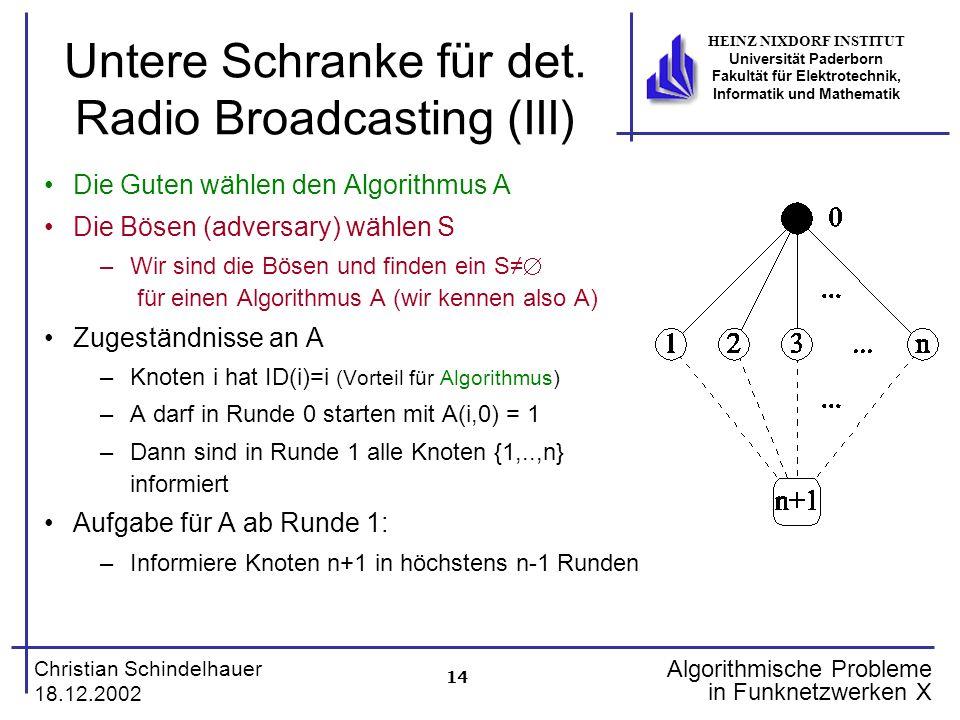 14 Christian Schindelhauer 18.12.2002 HEINZ NIXDORF INSTITUT Universität Paderborn Fakultät für Elektrotechnik, Informatik und Mathematik Algorithmische Probleme in Funknetzwerken X Untere Schranke für det.