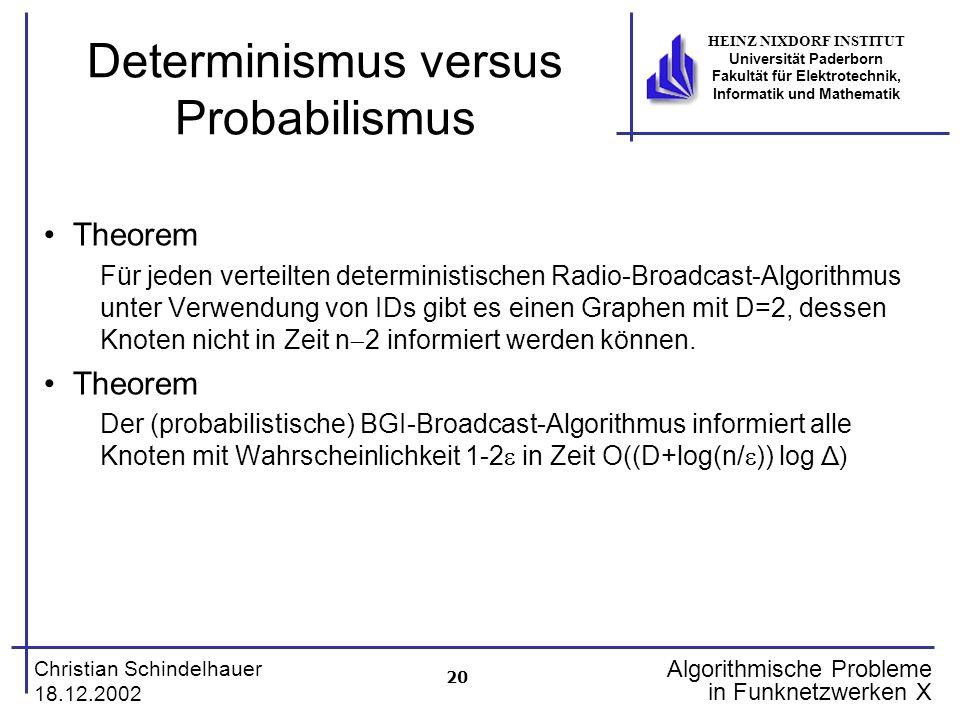 20 Christian Schindelhauer 18.12.2002 HEINZ NIXDORF INSTITUT Universität Paderborn Fakultät für Elektrotechnik, Informatik und Mathematik Algorithmische Probleme in Funknetzwerken X Determinismus versus Probabilismus Theorem Für jeden verteilten deterministischen Radio-Broadcast-Algorithmus unter Verwendung von IDs gibt es einen Graphen mit D=2, dessen Knoten nicht in Zeit n 2 informiert werden können.