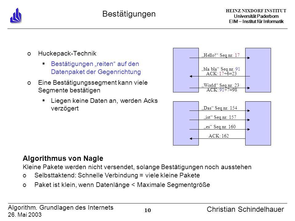 HEINZ NIXDORF INSTITUT Universität Paderborn EIM Institut für Informatik 10 Algorithm. Grundlagen des Internets 26. Mai 2003 Christian Schindelhauer B