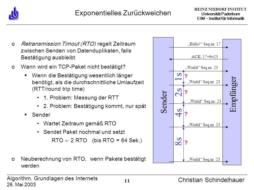 HEINZ NIXDORF INSTITUT Universität Paderborn EIM Institut für Informatik 11 Algorithm. Grundlagen des Internets 26. Mai 2003 Christian Schindelhauer E