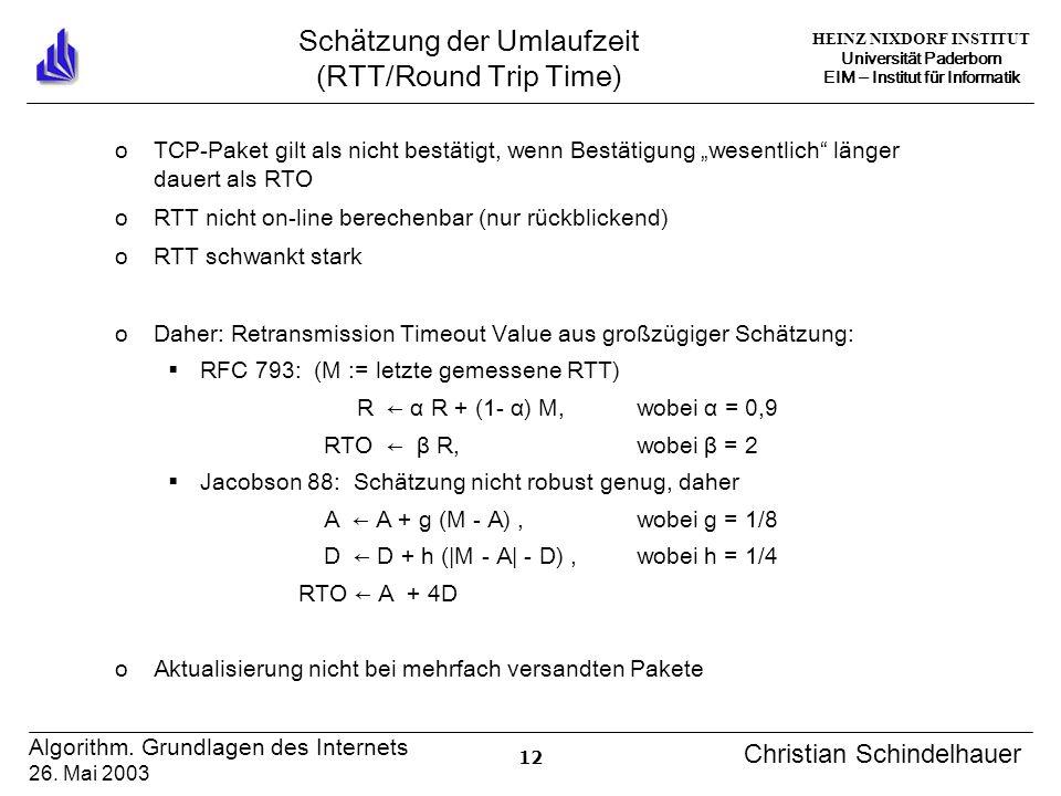 HEINZ NIXDORF INSTITUT Universität Paderborn EIM Institut für Informatik 12 Algorithm. Grundlagen des Internets 26. Mai 2003 Christian Schindelhauer S