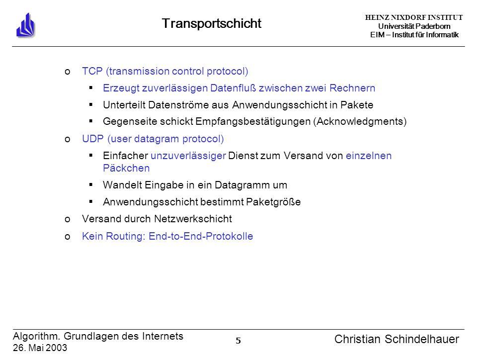 HEINZ NIXDORF INSTITUT Universität Paderborn EIM Institut für Informatik 5 Algorithm. Grundlagen des Internets 26. Mai 2003 Christian Schindelhauer Tr