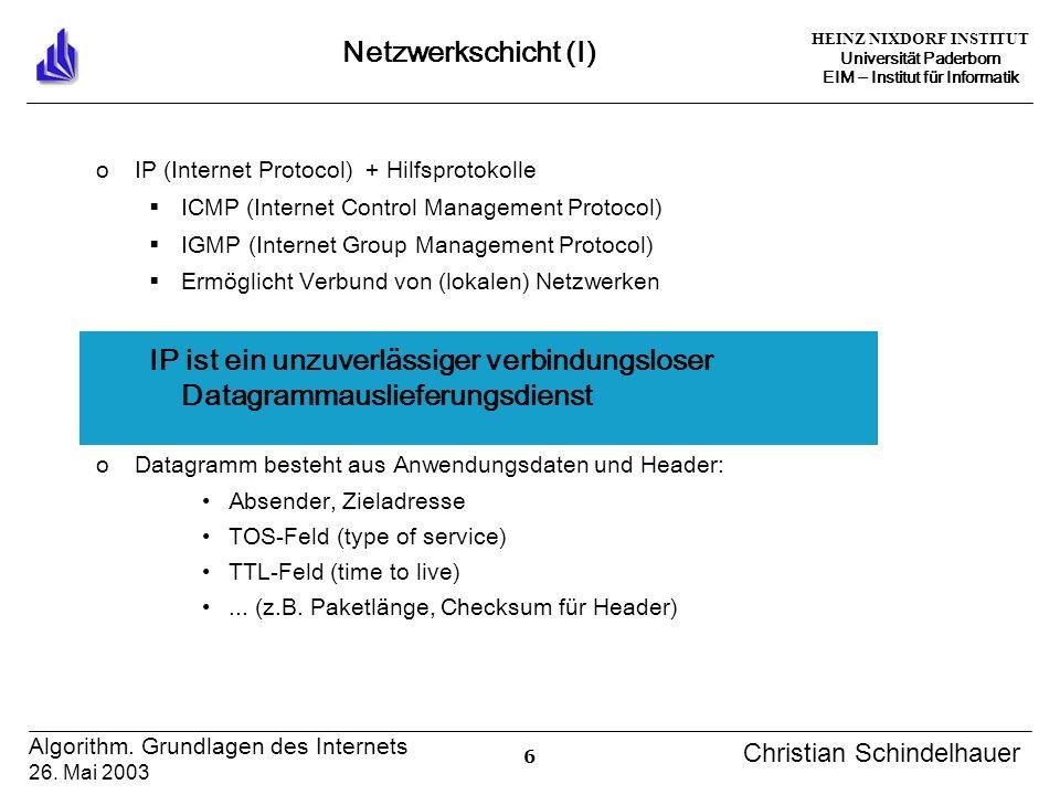 HEINZ NIXDORF INSTITUT Universität Paderborn EIM Institut für Informatik 6 Algorithm. Grundlagen des Internets 26. Mai 2003 Christian Schindelhauer Ne