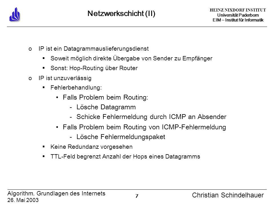HEINZ NIXDORF INSTITUT Universität Paderborn EIM Institut für Informatik 7 Algorithm. Grundlagen des Internets 26. Mai 2003 Christian Schindelhauer Ne