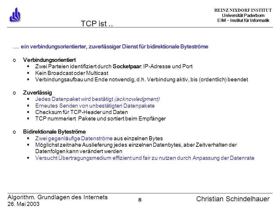 HEINZ NIXDORF INSTITUT Universität Paderborn EIM Institut für Informatik 8 Algorithm. Grundlagen des Internets 26. Mai 2003 Christian Schindelhauer TC