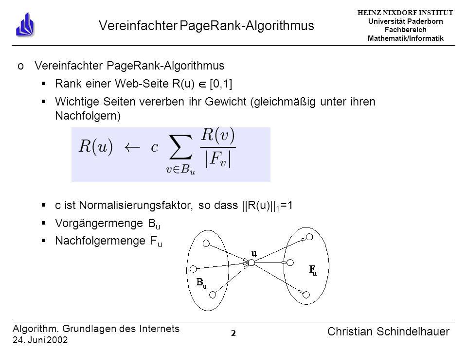 HEINZ NIXDORF INSTITUT Universität Paderborn Fachbereich Mathematik/Informatik 13 Algorithm.