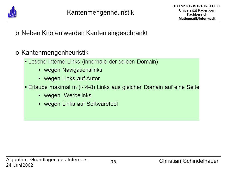 HEINZ NIXDORF INSTITUT Universität Paderborn Fachbereich Mathematik/Informatik 23 Algorithm.