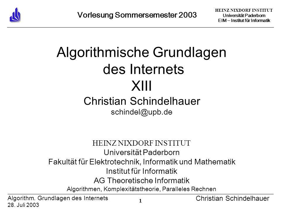 HEINZ NIXDORF INSTITUT Universität Paderborn EIM Institut für Informatik 1 Algorithm.