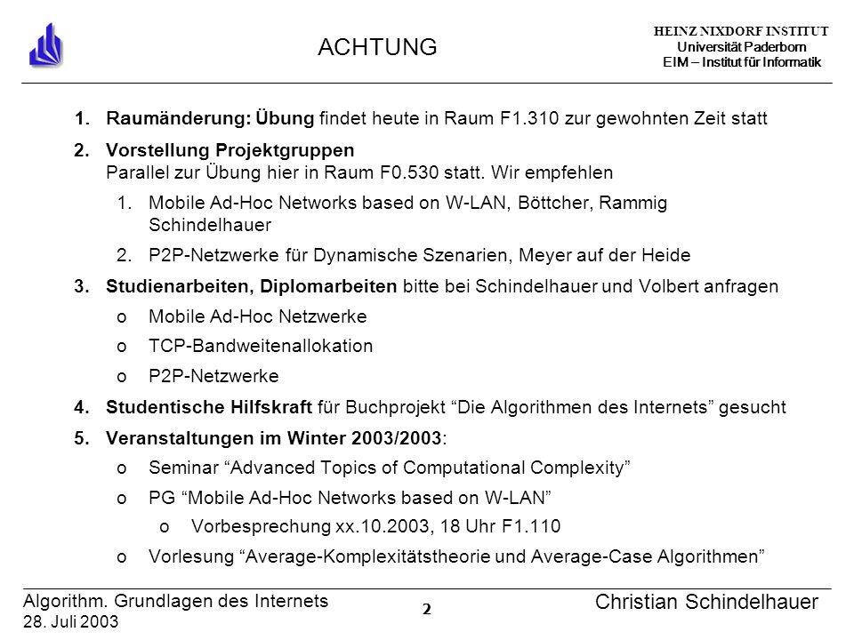 HEINZ NIXDORF INSTITUT Universität Paderborn EIM Institut für Informatik 3 Algorithm.