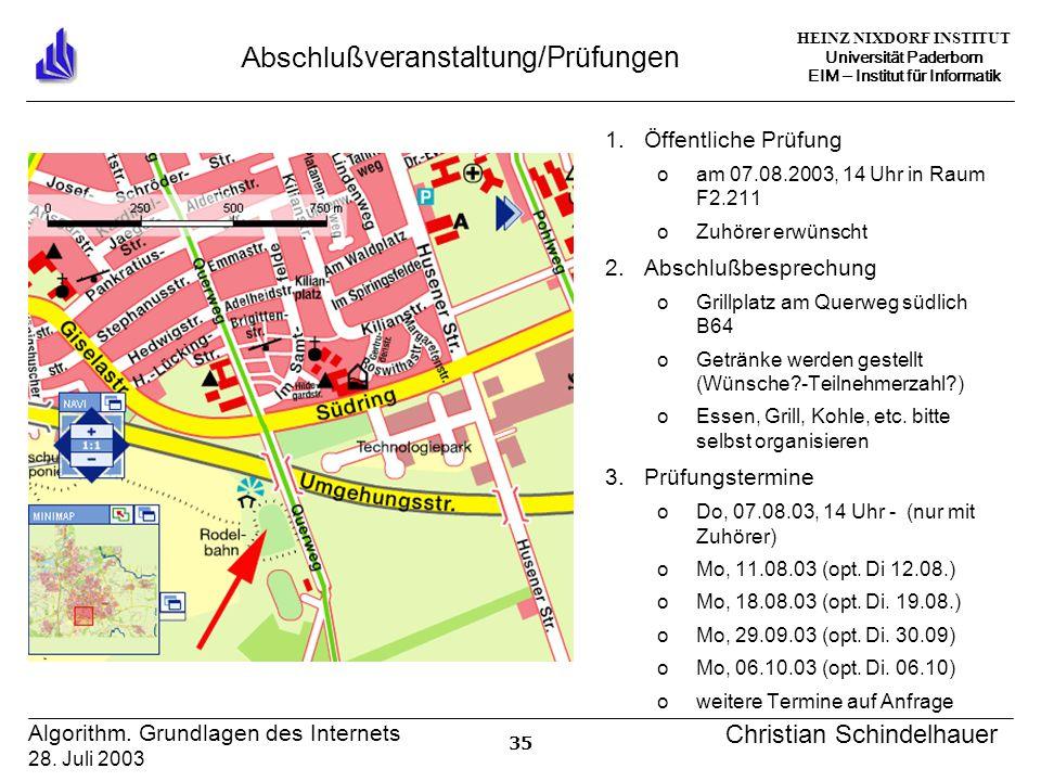 HEINZ NIXDORF INSTITUT Universität Paderborn EIM Institut für Informatik 35 Algorithm.