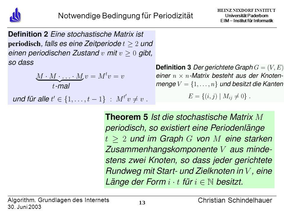 HEINZ NIXDORF INSTITUT Universität Paderborn EIM Institut für Informatik 13 Algorithm. Grundlagen des Internets 30. Juni 2003 Christian Schindelhauer