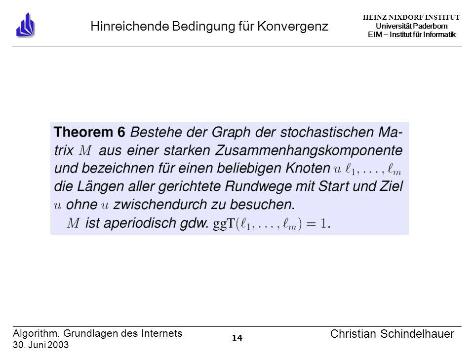 HEINZ NIXDORF INSTITUT Universität Paderborn EIM Institut für Informatik 14 Algorithm. Grundlagen des Internets 30. Juni 2003 Christian Schindelhauer