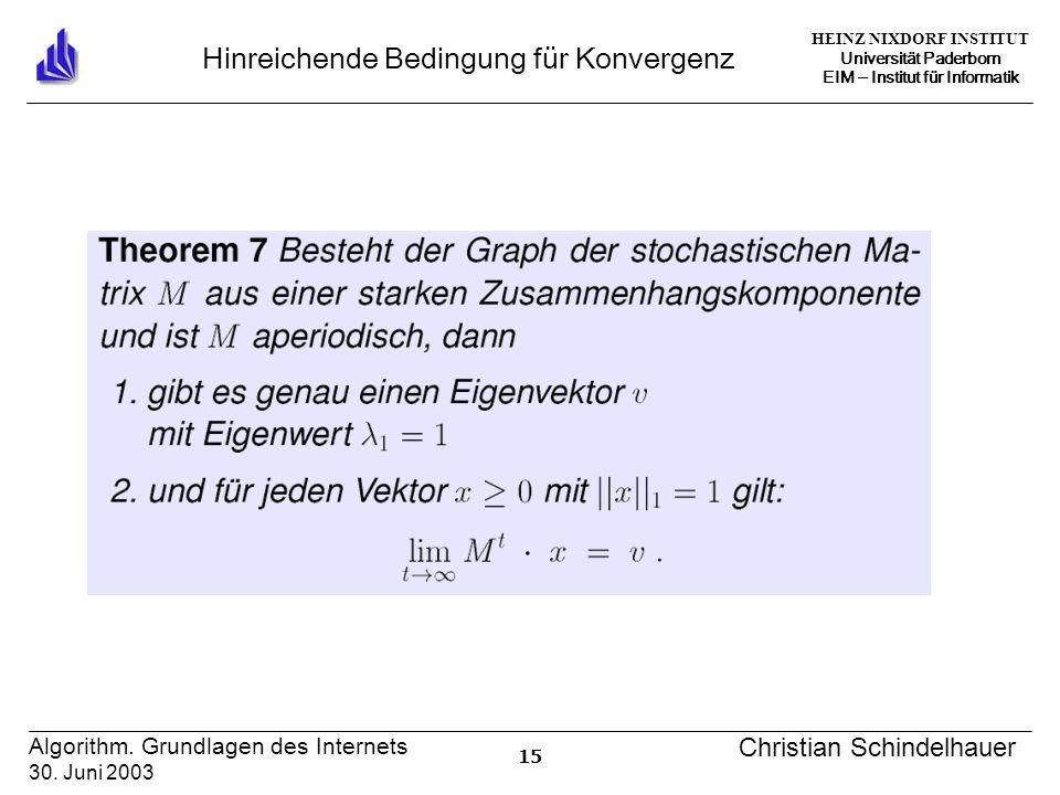 HEINZ NIXDORF INSTITUT Universität Paderborn EIM Institut für Informatik 15 Algorithm. Grundlagen des Internets 30. Juni 2003 Christian Schindelhauer