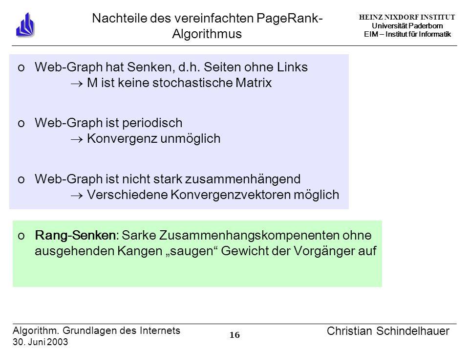 HEINZ NIXDORF INSTITUT Universität Paderborn EIM Institut für Informatik 16 Algorithm. Grundlagen des Internets 30. Juni 2003 Christian Schindelhauer