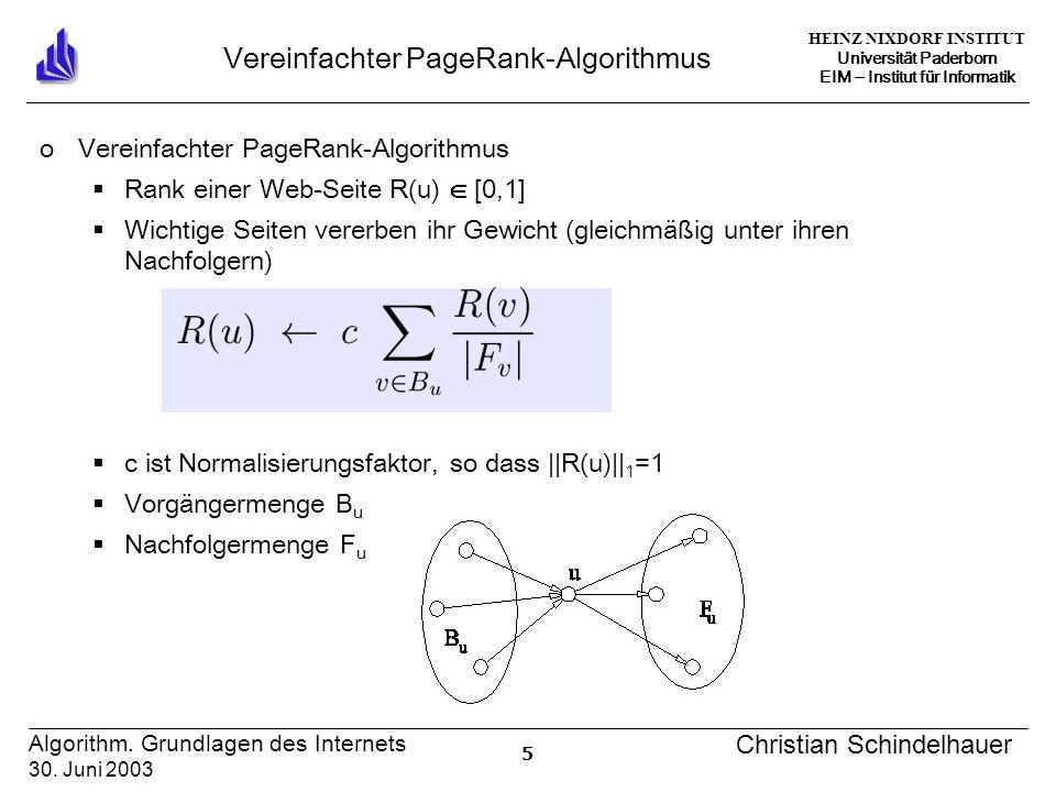 HEINZ NIXDORF INSTITUT Universität Paderborn EIM Institut für Informatik 5 Algorithm. Grundlagen des Internets 30. Juni 2003 Christian Schindelhauer V