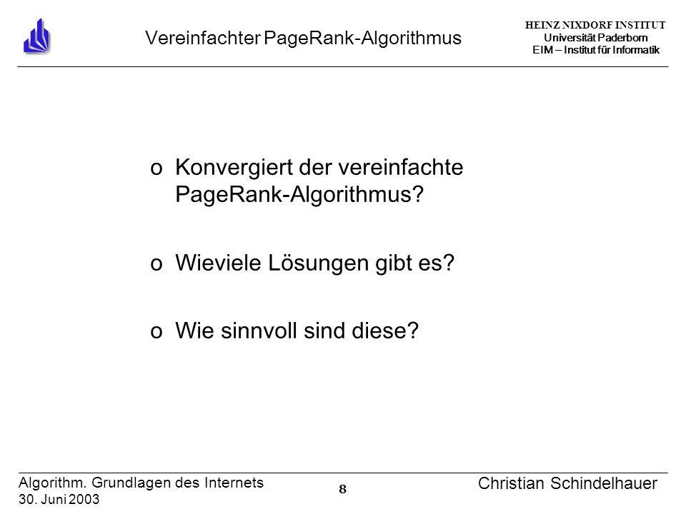 HEINZ NIXDORF INSTITUT Universität Paderborn EIM Institut für Informatik 8 Algorithm. Grundlagen des Internets 30. Juni 2003 Christian Schindelhauer V