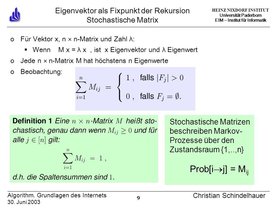 HEINZ NIXDORF INSTITUT Universität Paderborn EIM Institut für Informatik 9 Algorithm. Grundlagen des Internets 30. Juni 2003 Christian Schindelhauer E
