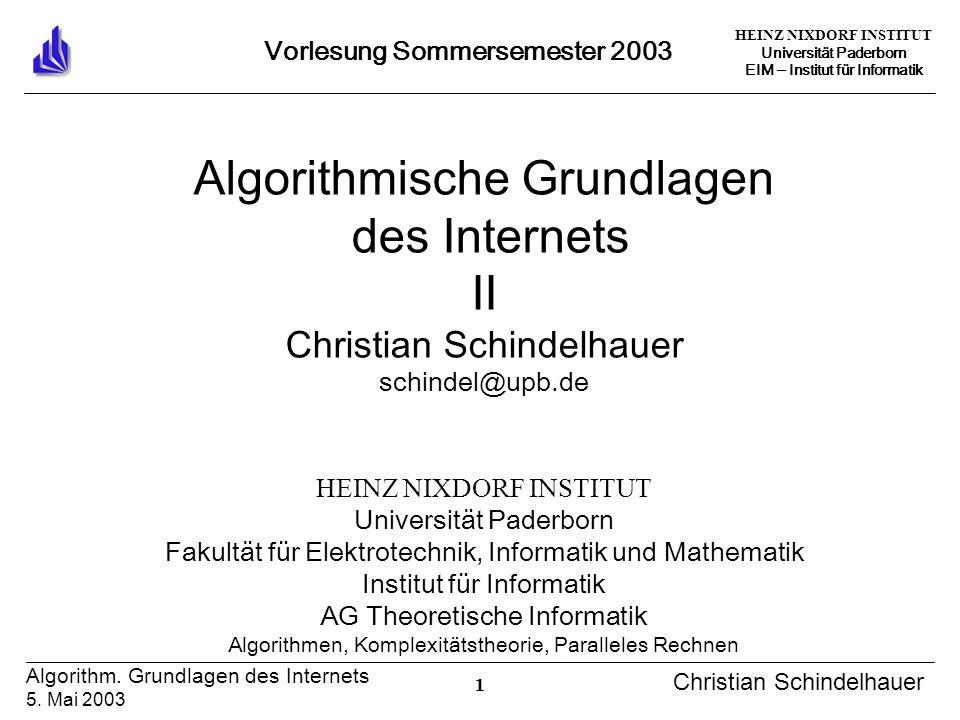 HEINZ NIXDORF INSTITUT Universität Paderborn EIM Institut für Informatik 1 Algorithm. Grundlagen des Internets 5. Mai 2003 Christian Schindelhauer Vor