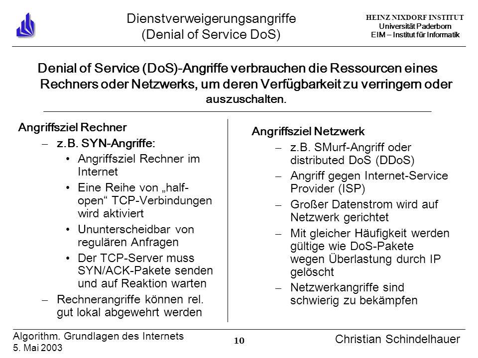 HEINZ NIXDORF INSTITUT Universität Paderborn EIM Institut für Informatik 10 Algorithm. Grundlagen des Internets 5. Mai 2003 Christian Schindelhauer Di
