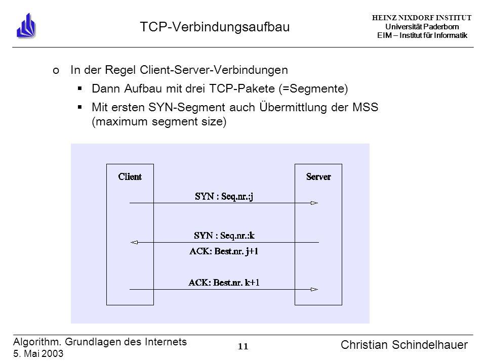 HEINZ NIXDORF INSTITUT Universität Paderborn EIM Institut für Informatik 11 Algorithm. Grundlagen des Internets 5. Mai 2003 Christian Schindelhauer TC